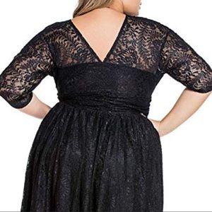 Dresses - Women's Plus Black Lace Skater Dress